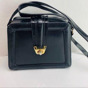 Black faux leather envelop shoulder bag